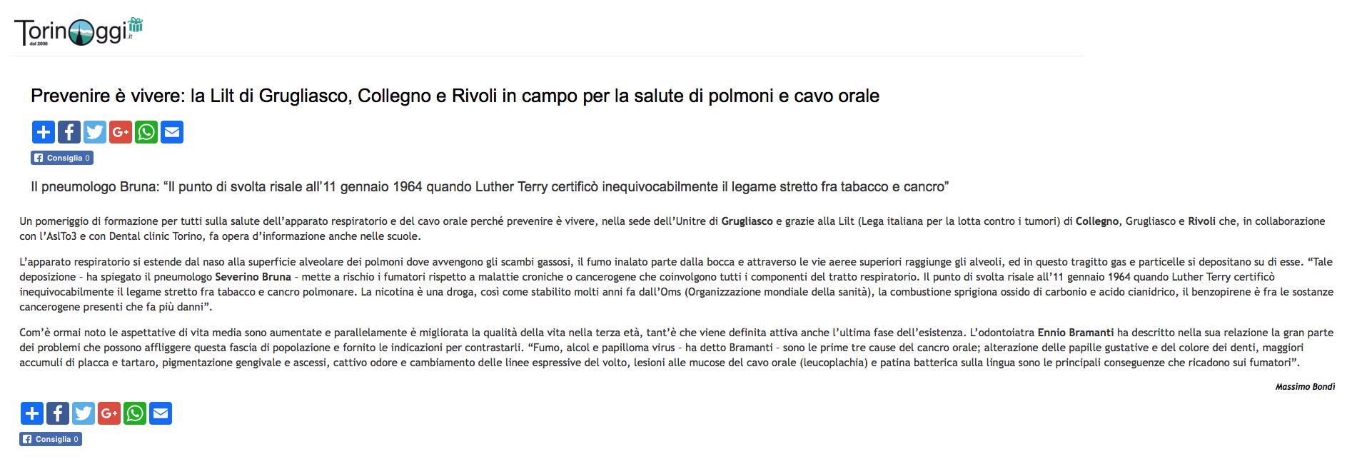 """Articolo """"TorinoOggi.it"""""""